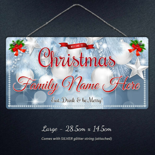 Personalised Christmas at Family Name Hanging Plaque Xmas Custom Gift Metal Sign