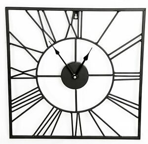 40 cm chiffre romain horloge carr styl m tal noir murale. Black Bedroom Furniture Sets. Home Design Ideas