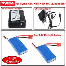 RC 2x7.4V 2500mAh Lipo Battery+2 V 1 2S Balance Charger for Syma X8HW X8HC X8HG