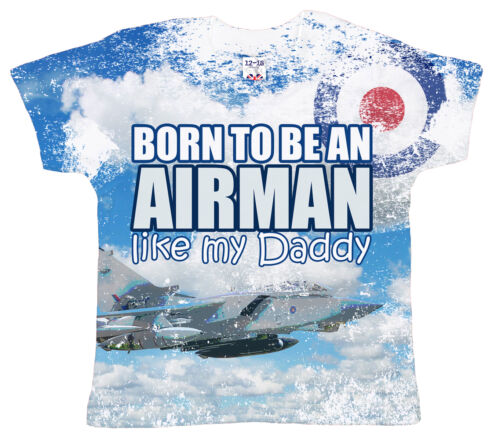 """DF Baby T-Shirt All Over Print /""""Born to be an Airman like my Daddy/"""" RAF pilot"""