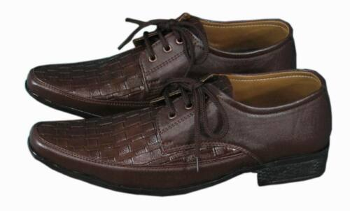 SHUMAXX MENS SHOES Brown Leather look WORK WEDDING ITALIAN CASUAL FORMAL SHOES