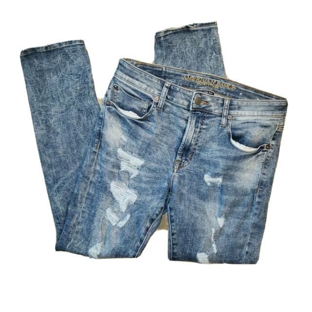 American Eagle Mens Jeans Size 34 x 32 Next Level Flex Skinny Ripped 31