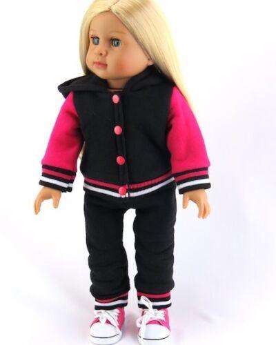 "Varsity Jacket Pants Set Black Pink for American Girl 18/"" Doll Clothes School"