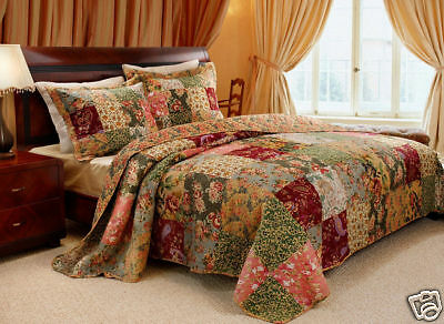 BEAUTIFUL ANTIQUE VINTAGE STYLE GREEN FLORAL PATCHWORK QUILT SET NEW! TWIN SIZE