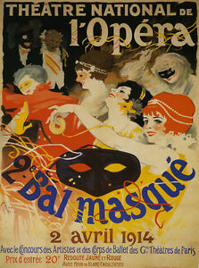 Opera-Masked-Ball-1914-Theater-France-Fun-Vintage-French-Poster-Repo-FREE-S-H