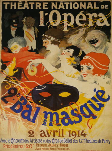 Opera Masked Ball 1914 Theater France Fun Vintage French Poster Repo FREE S//H