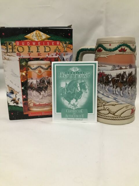 1996 Budweiser Holiday Christmas Beer Stein Clydesdales AMERICAN HOMESTEAD