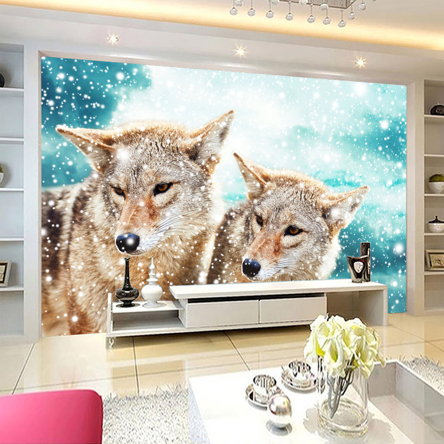 3D snow Wolf animal white Wall Paper Print Decal Wall Deco Indoor wall Mural
