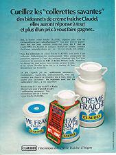 PUBLICITE ADVERTISING 074  1972  CLAUDEL creme fraiche d'ISIGNY jeu RTL & RMC