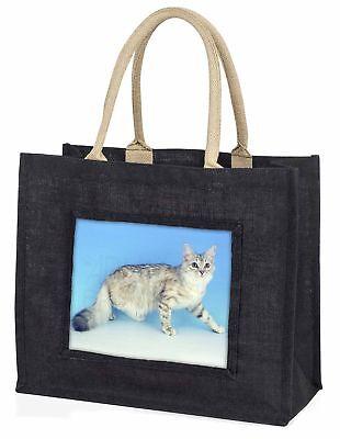 Sibirisch Silber Katze große schwarze Einkaufstasche Weihnachten Geschenkidee,