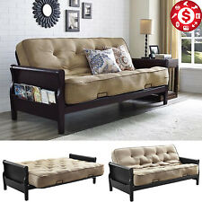"""Arm Futon Sofa Bed Couch Lounger Wooden Full Size Sleeper with 8"""" Coil Mattress"""