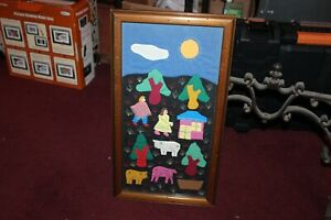 Folk Art Quilted Pattern Patchwork Farm Life Trees Pigs Framed