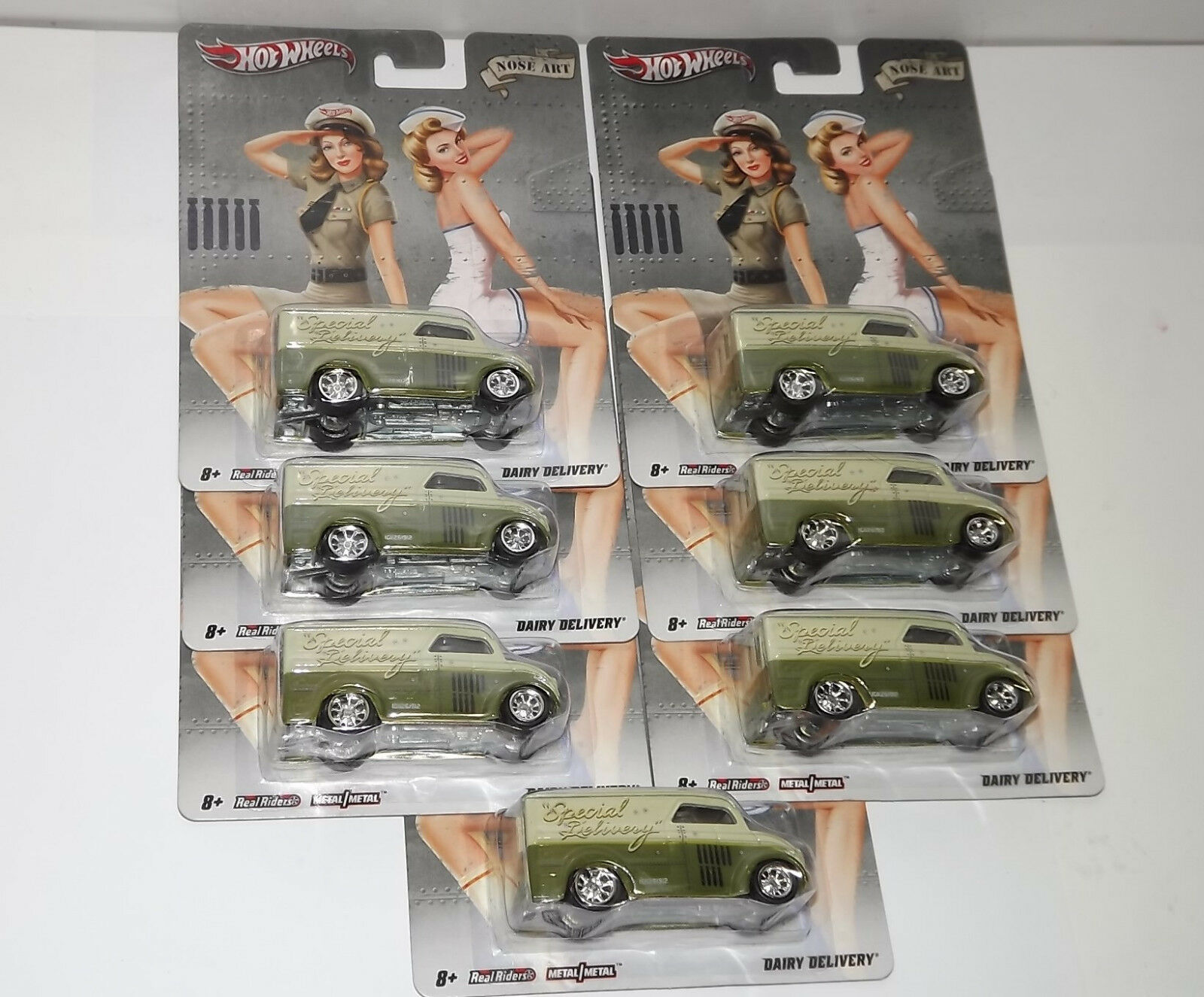LOT OF 7 HOT WHEELS NOSE ART DAIRY DELIVERY NOSTALGIA NEW