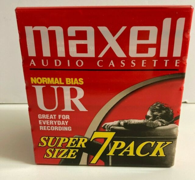 Maxell Audio Cassette Tapes UR 90 Minute Normal Bias Blank New Sealed 7 Pack