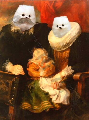 FAMILY PORTRAIT CREEPY DOGS WITH CHILD HYBRID WALL ART PRINT POSTER LF3562