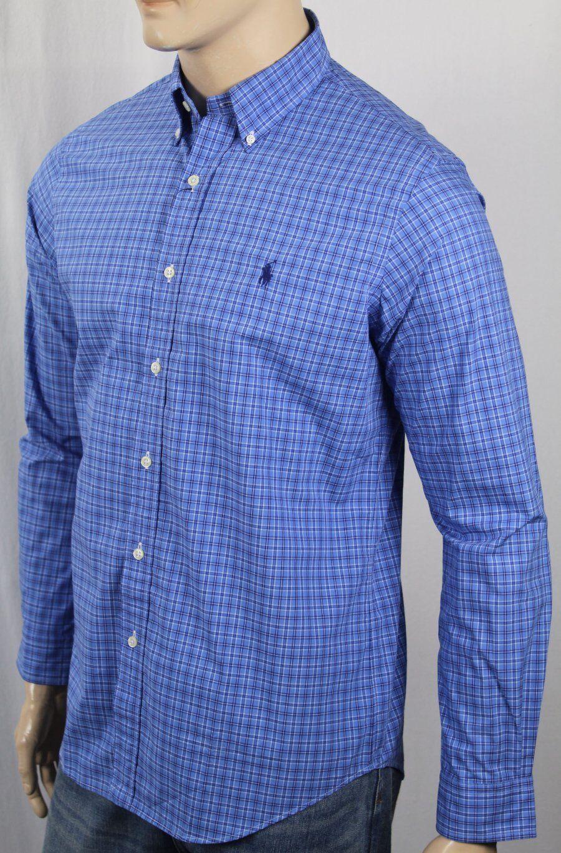 Ralph Lauren bluee Plaid Classic Dress Shirt Navy Pony NWT