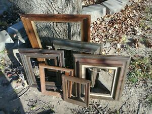 Vintage-Lot-6-Picture-Art-Frames-Estate-Lot-WOOD-6x16-to-13x20-shabby-chic-gesso