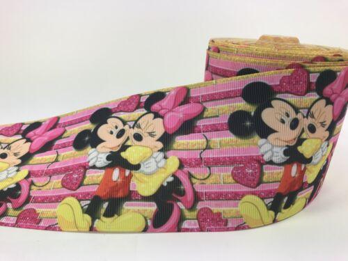 BY The Yard 3 Inch Disney Minnie Mickey Love Grosgrain Ribbon Hair Bows Lisa
