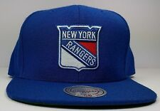 New York Rangers Mitchell & Ness Vintage Solid Wool Blue Snapback Hat Cap NHL