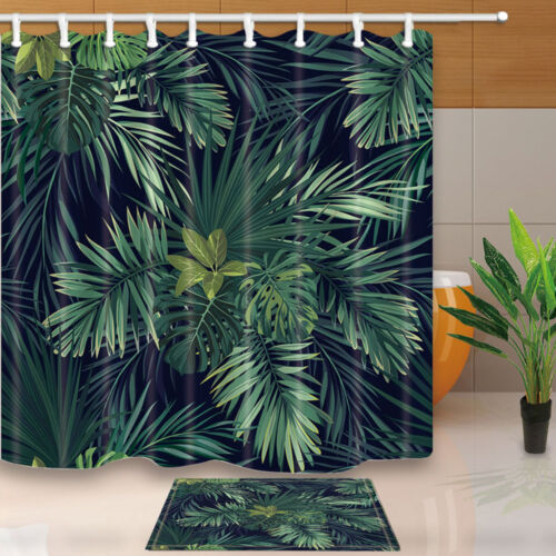 Green palm leaves Bathroom Decor Shower Curtain Waterproof Fabric w//12 Hook