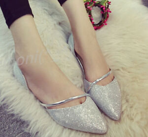 Fashion New Womens Glitter Flats Pumps Pointy Toe Grils Sandals ... 79129803deef