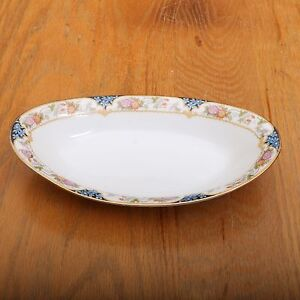 Vintage-Noritake-Nippon-Japan-Blue-and-Pink-Flower-Pattern-Celery-Dish-Bowl