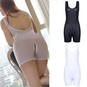 c545484f06 Image is loading Women-Sheer-Lingerie-Zip-Open-Crotch-Bodysuit-Leotard-