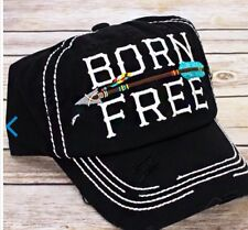 Born Free, Black Distressed Women's Cap / Hat -  NWT, Adjustable