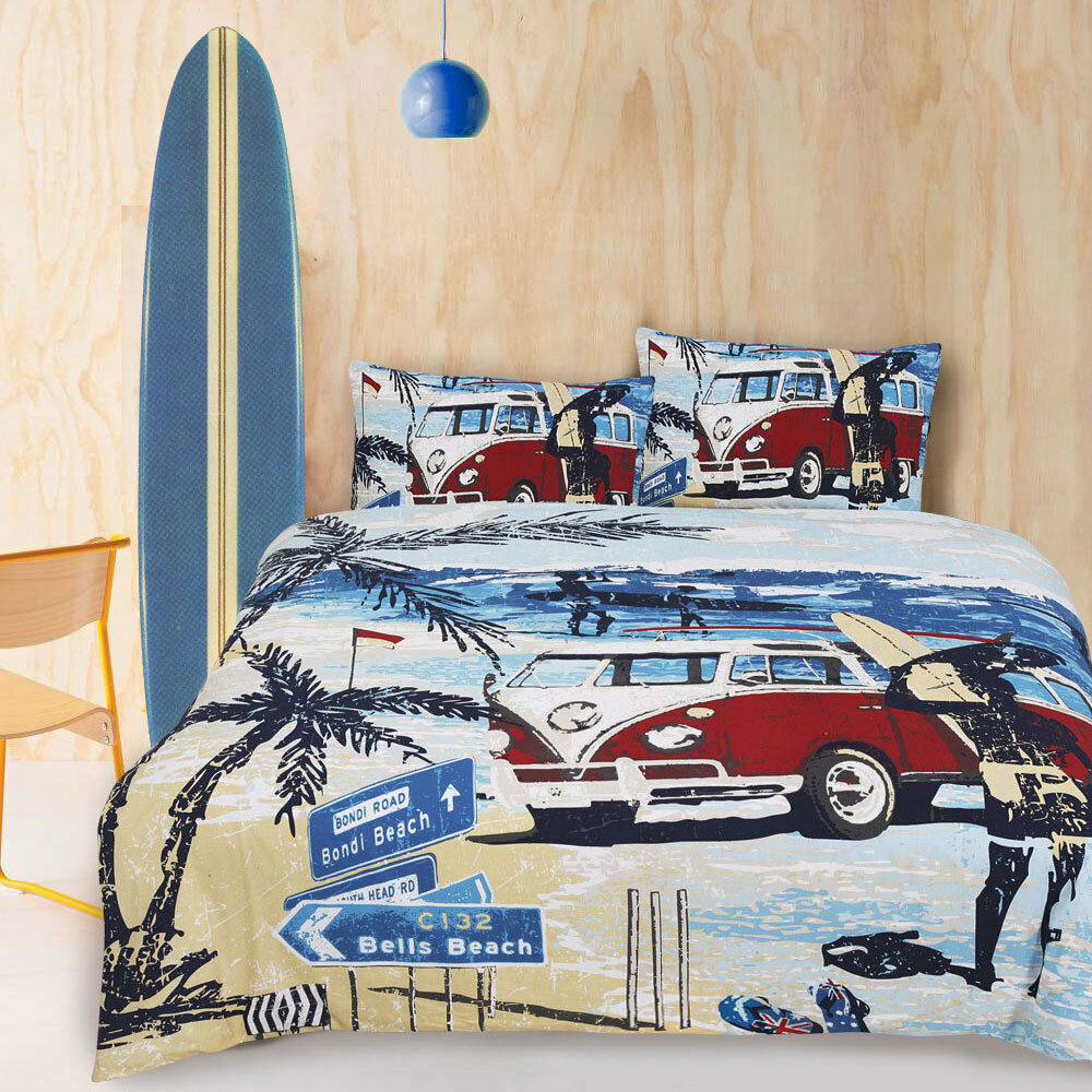 Retro Summer Kombi Van Beach Surf Boys Teen DOUBLE Size Quilt Doona Cover Set