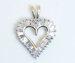 WOW-Beautiful-10K-Yellow-amp-White-Gold-50-Ct-Baguette-Diamond-Heart-Pendant