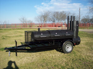 Details about NEW Custom BBQ pit smoker Charcoal grill trailer