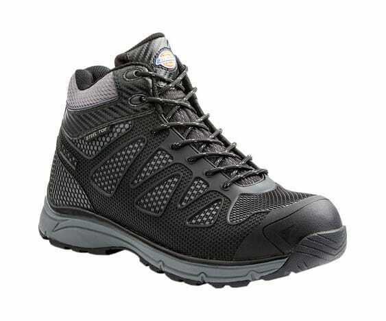 Dickies Men's Fury Mid Athletic Steel Toe Safety Work shoes Black Rubber Mesh