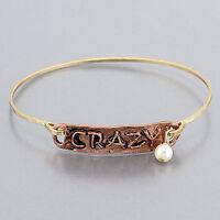 Gold Copper Hammered Crazy Engraved Vintage Pearl Charm Bangle Bracelet