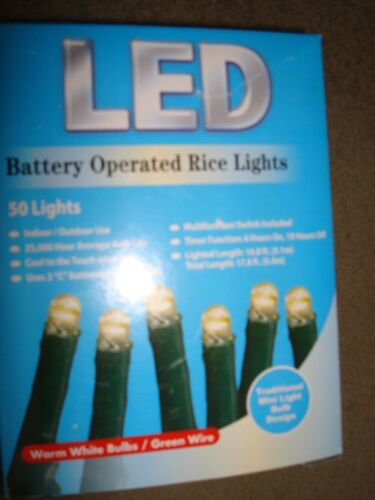 LED RICE LIGHTS CLEAR 50 LIGHTS BATTERY OPERATED