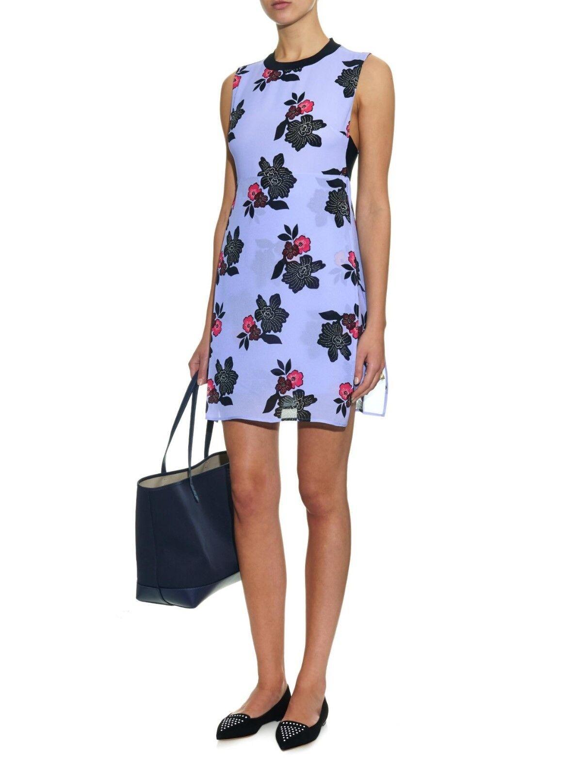 NEW A.L.C. Blau  Harvey African  Floral-print Silk Mini Dress  - Größe 8