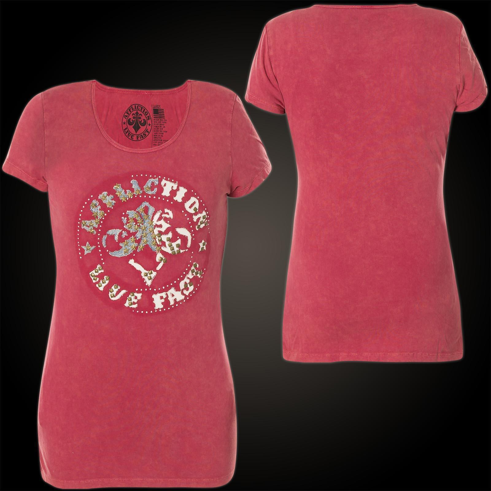 AFFLICTION Damen T-Shirt Divio Patchwork Rot