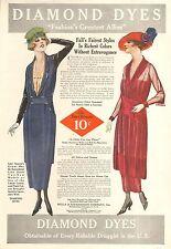 1914 DIAMOND DYES LADIES FASHION/BB YOUNG GIRL 2 SIDED  VINTAGE ORIGINAL  AD