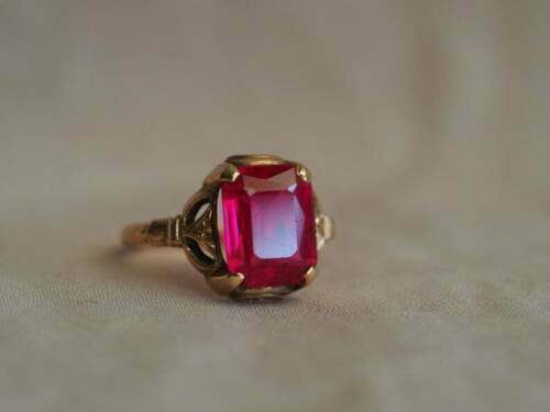Solid 3 Ct Emerald Brilliant Cut Ruby Vintage Engagement Ring 14K Rose Gold Over