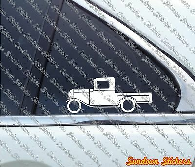 2x Lowered car outline stickers 1932-1934 for Ford Model B vintage pickup