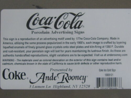 "Porcelain Coca-Cola /""Ice Cold/"" Sign NEW"