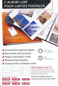 ALBUM CLASSEUR Bleu garni pour 150 Cartes Postales