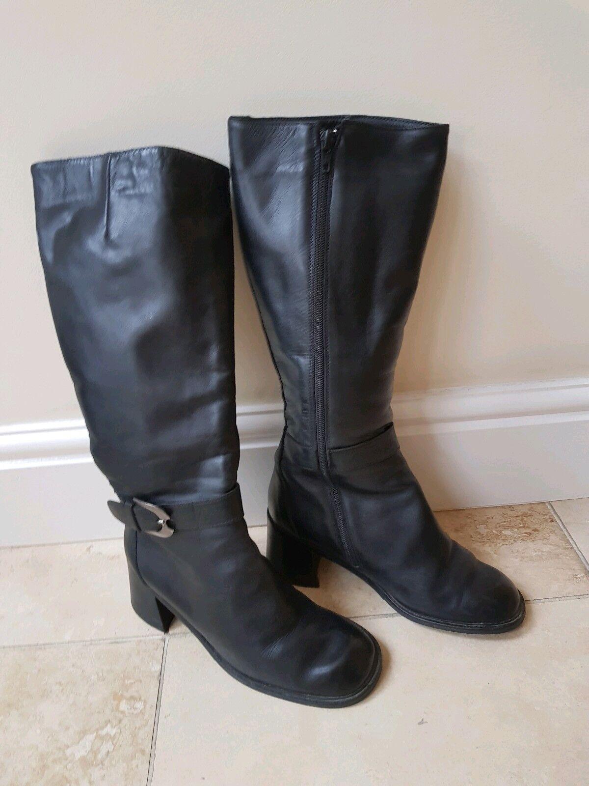 Angela Falconi Italian Black Leather Shearling Sheep Knee High Boots UK 4.5 37.5