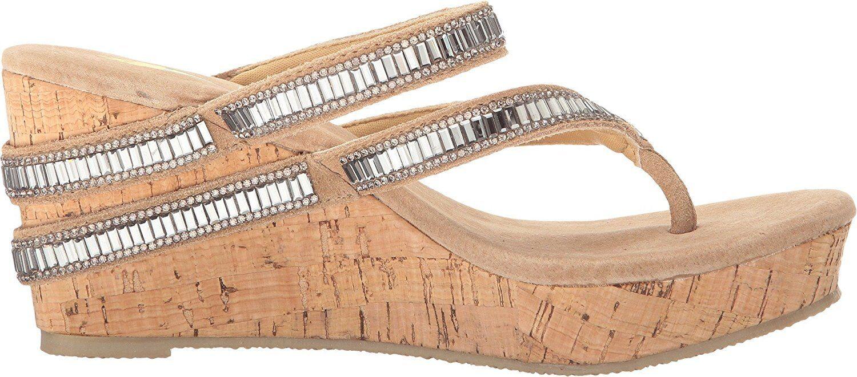 Nuovo Donna Volatile Decorah Cork Wedge Sandalo Infradito Coloree Carne Strass