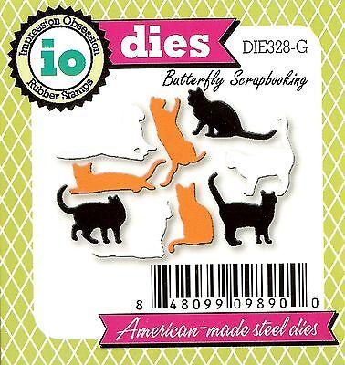 Cat Set MINI Tiny 9 Cats Die Cutting Dies by Impression Obsession DIE328-G New