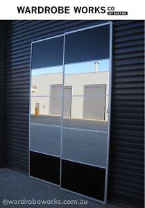 DIY-Wardrobe-Sliding-Doors-Kit-Made-to-Measure-Mirror-Black-glass-BRISBANE