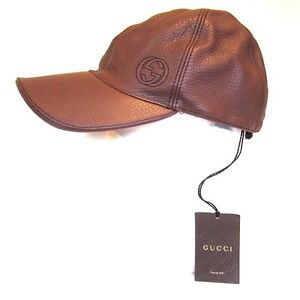 26d18253dbc B-160135 New Gucci Logo Brown Leather Baseball Hat Cap Size Large LG ...