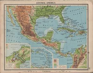 1939 MAP ~ CENTRAL AMERICA MEXICO WEST INDIES PANAMA CANAL JAMAICA ...