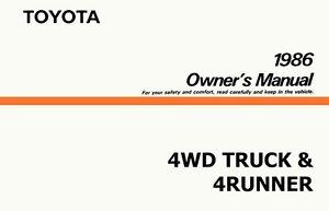 1986 toyota 4wd truck 4runner owners manual user guide ebay rh ebay com 94 toyota 4runner owners manual 94 Toyota 4Runner Interior