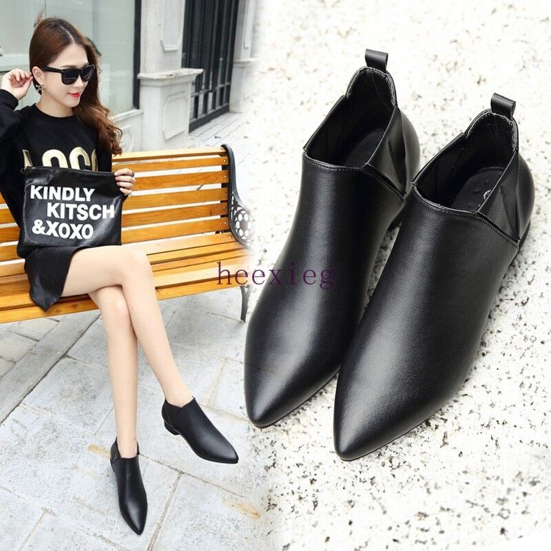 Fashion Womens Pointy Toe Flats Pull On Leather Ankle Boots Chelsea Boots Shoes