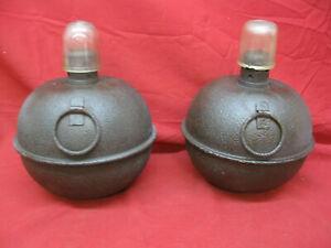 2-Vintage-Antique-Highway-Kerosene-Road-Flare-Smudge-Pot-Lantern-with-Glass-Tops